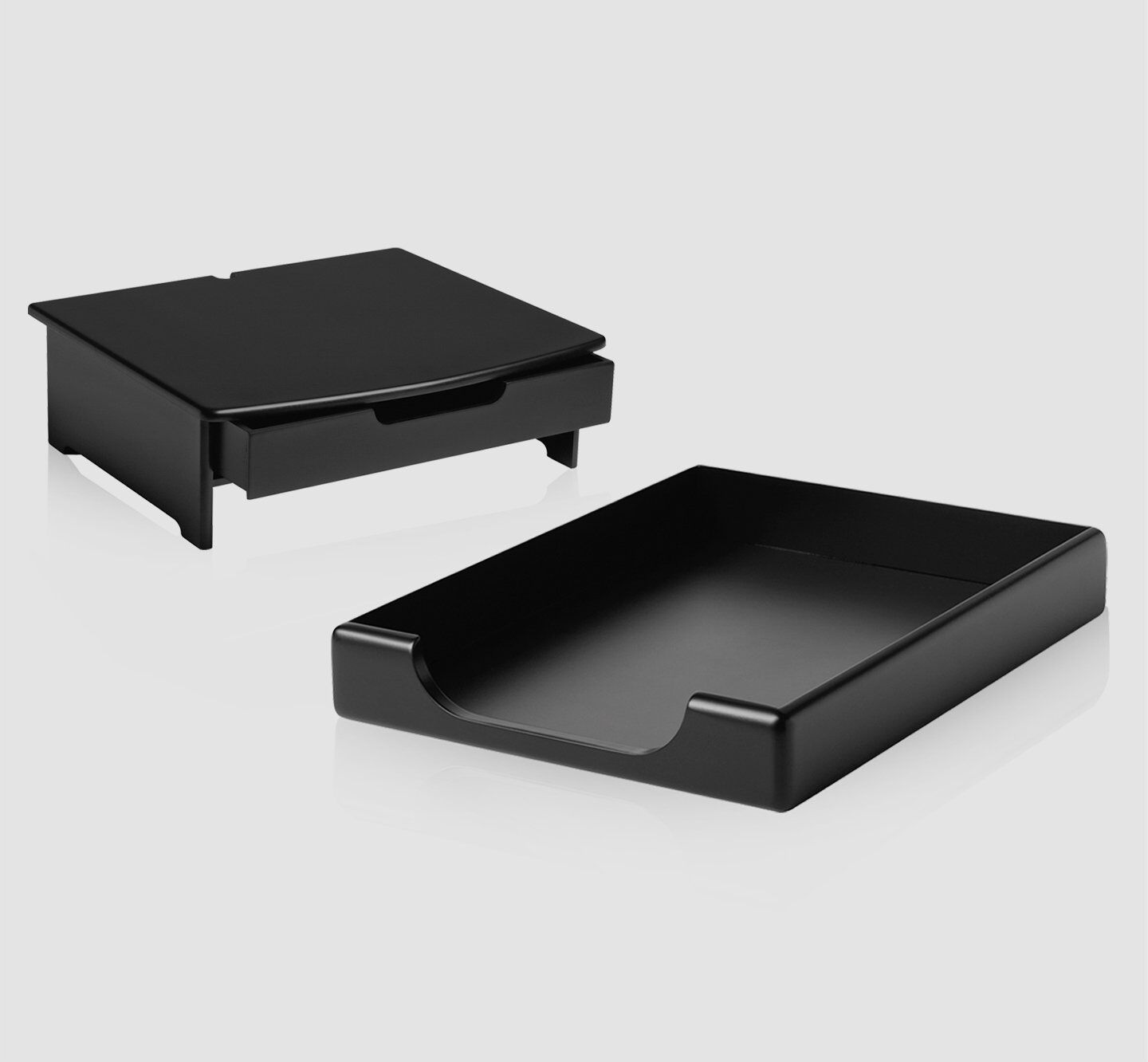 workplace monitor stand with drawer